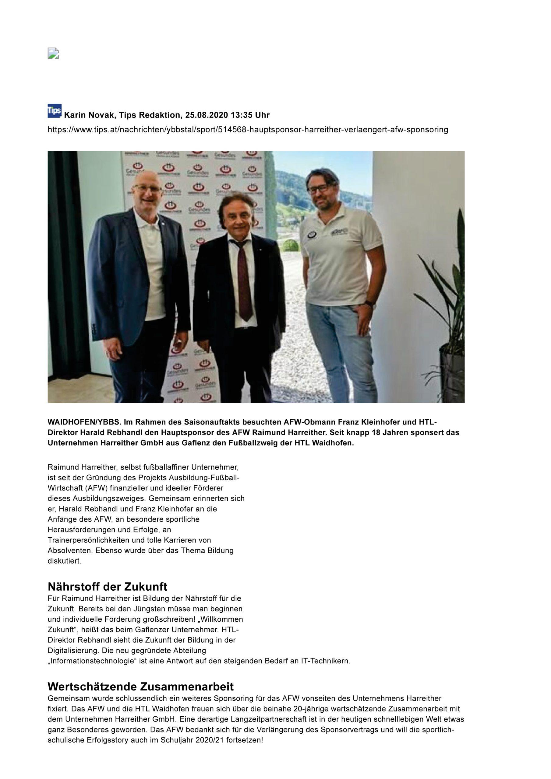 TIPS_Hauptsponsor Harreither verlängert AFW-Sponsoring